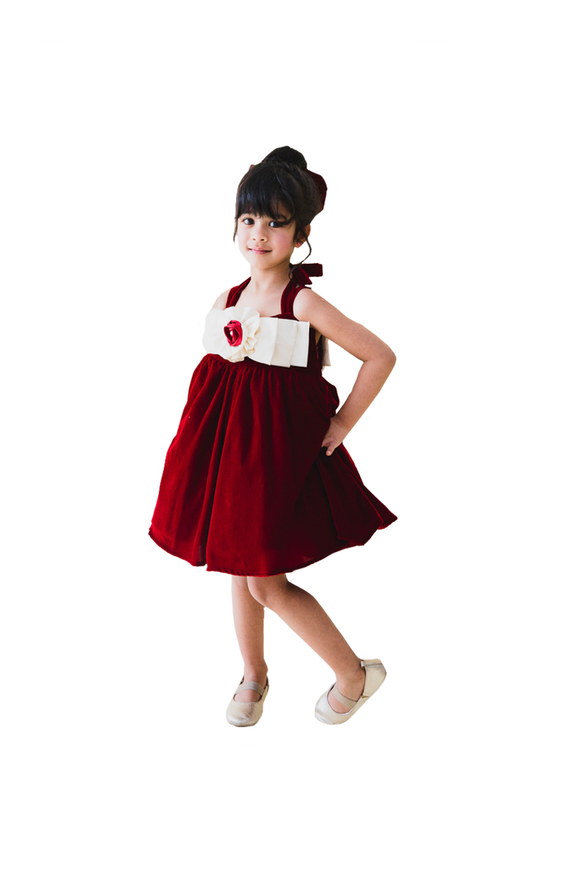 Maroon Velvet Dress With Front Back Bow