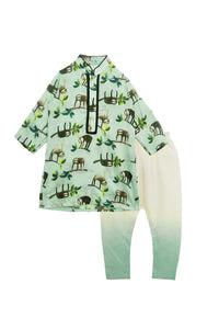 Green monkey print kurta with churidar set
