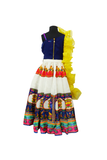 Puppet print lehenga and drape choli with ruffle dupatta