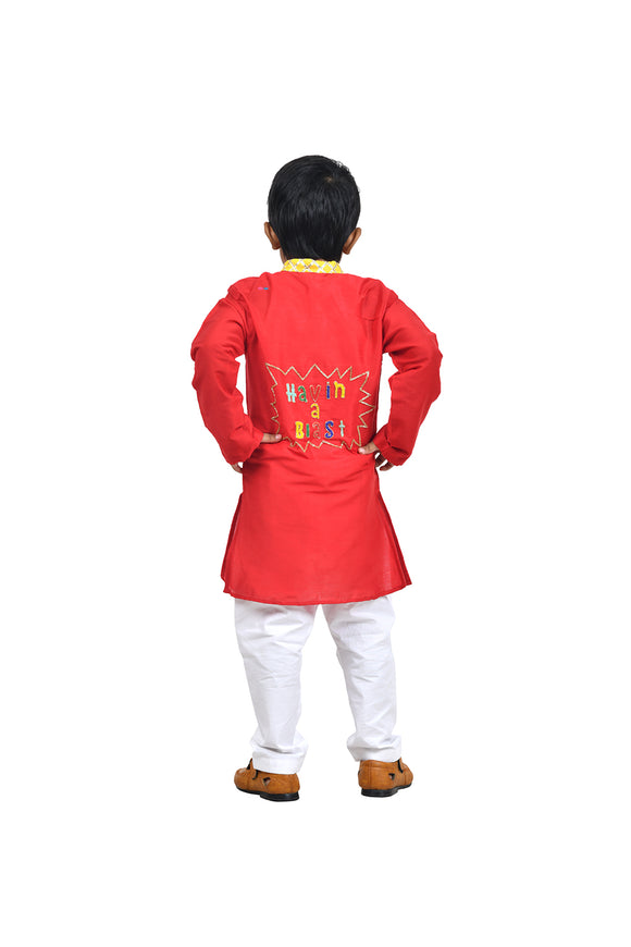 Red kurta with one liner and white churidar