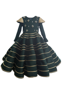 Bottle green rose shape gown