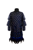 Blue Net Dress with feather border