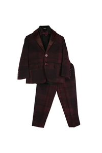 Wine Checks Blazer Set