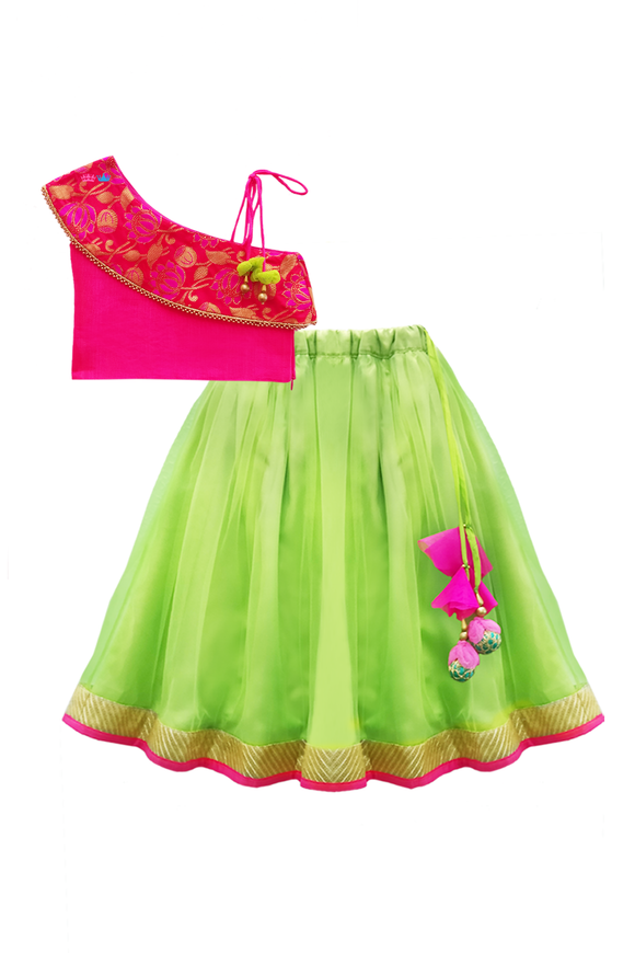 Pink one shoulder choli with green lehenga