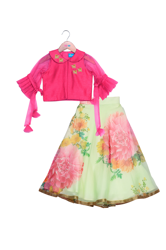 Gardenia bloom pink and light green lehenga set