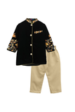Black embroidered velvet kurta with beige pyjama