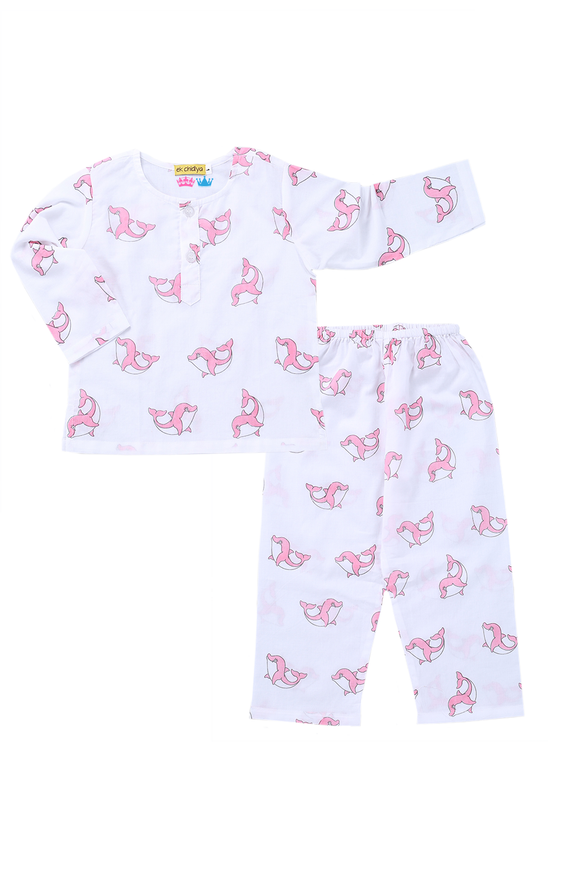 Handprinted Nightsuit in Dolphin print