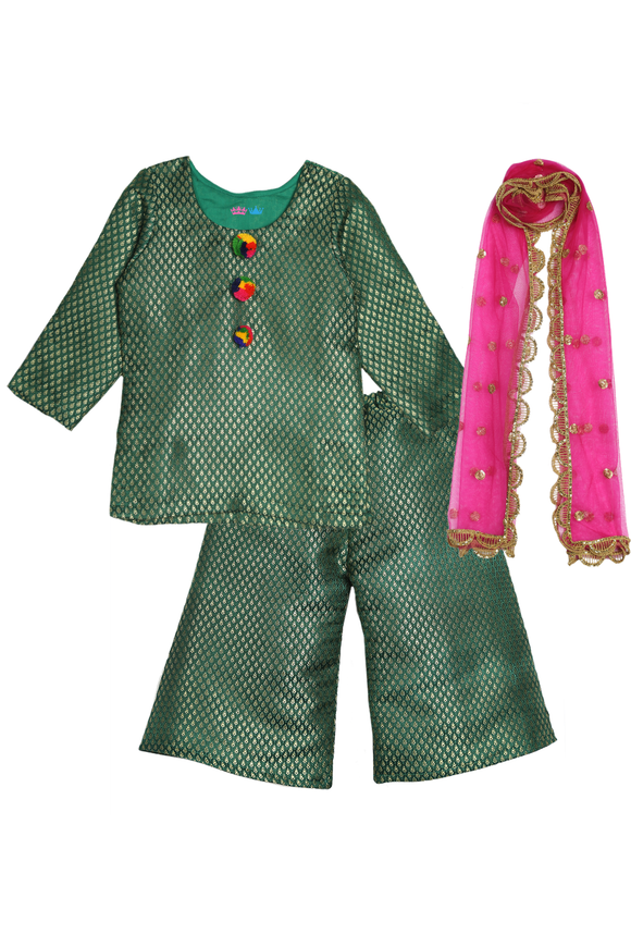 Green brocade palazzo set with dupatta