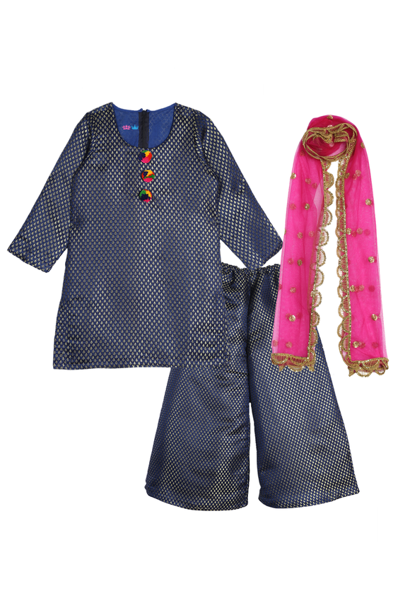 Blue brocade palazzo set with dupatta