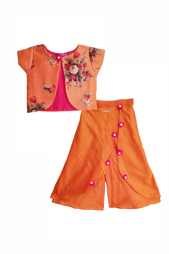 Orange Flower Jacket with Layered Palazzo and Pink Crop top set