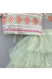 Sea green embroidered choli and lehenga with frilly dupatta