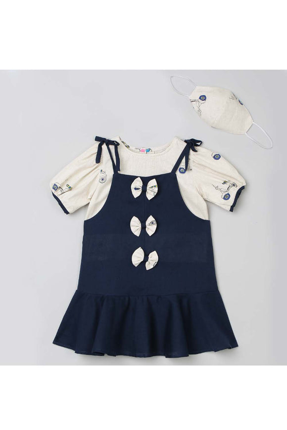 Navy blue ruffle dungaree with puff sleeve top with matching mask