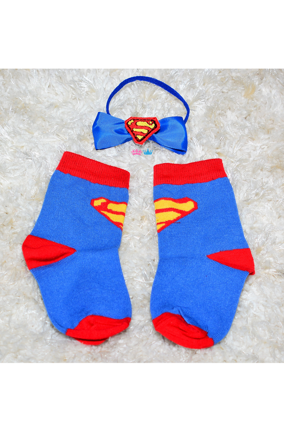 Blue and red socks with neck bow set