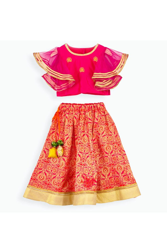 Pink embroidered choli and brocade lehenga! Get the Best Designer Lehenga Sets for Baby Girls, Designer Choli Ghagra Sets for Baby Girls, Designer Lehenga Choli Sets for Girls, Designer Lehenga Choli for kids, Lehenga for Girls, Ghagra for Girls, Ethnic wear for Girls, Indian Wear for Girls, Designer Ghagra for Kids