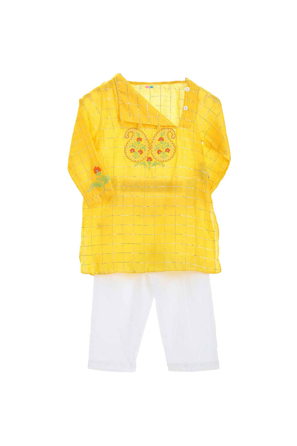Organic yellow kurta with printed yoke and pyjama