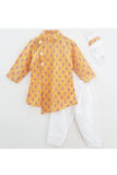Mustard floral print kurta and white pyjama with mask