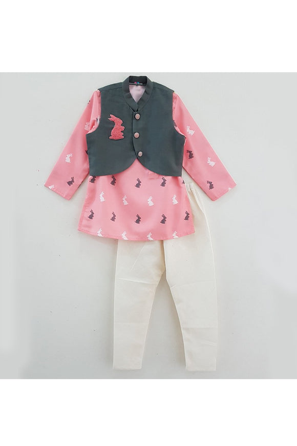 Bunny embroidered jacket with printed kurta pyjama set! Stylemylo offers a wide range of Designer Indian wear for Boys, Ethnic wear for boys, Kurta pyjama for boys, Kids kurta pyjama set, Dhoti set for boys, Designer Dhoti Kurta, Online Dhoti Kurta set, Designer Dhoti kurta for boys.