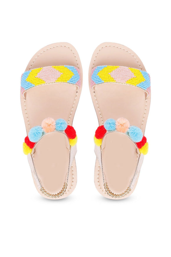 Urban multi color sandals! Footwear for girls, Flip flop for girls, designer sandals for girls, belly shoes for girls, designer kolhapuri flats