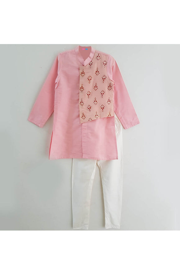 Pink embroidered flap attached kurta churidar set