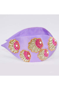 Purple sequins shell embroidery hairband