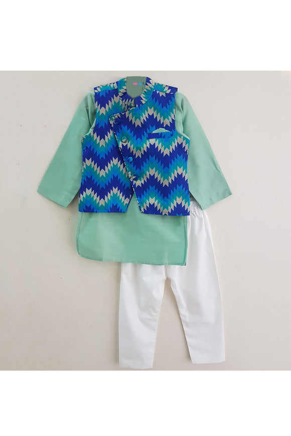 Seagreen kurta with cheveron Jacket and white pyjama