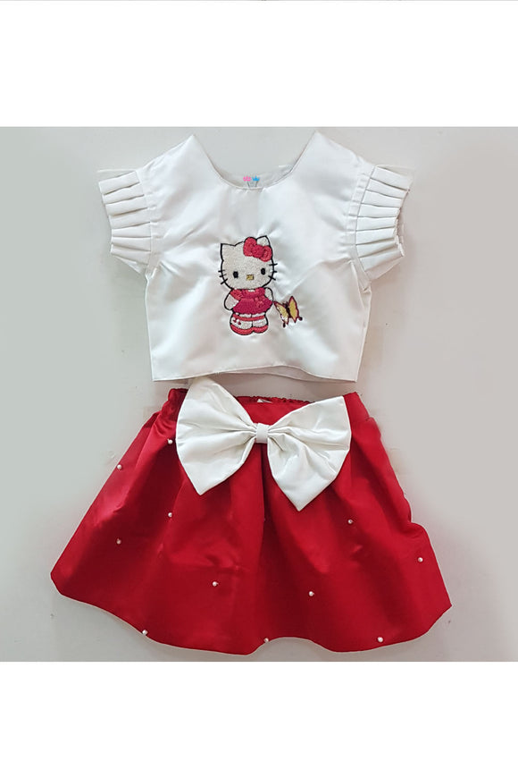 White hello kitty sequins embroidered top and red short skirt