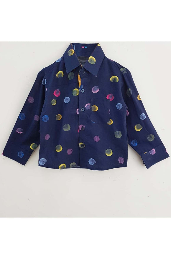 Navy blue shirt with multi color dots