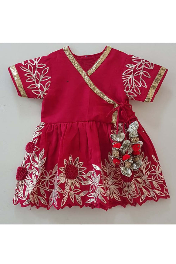 Red Gota embroidered angrakha dress