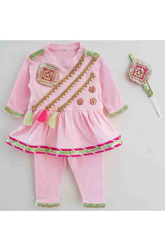 Pink peplum gota work romper for baby girls