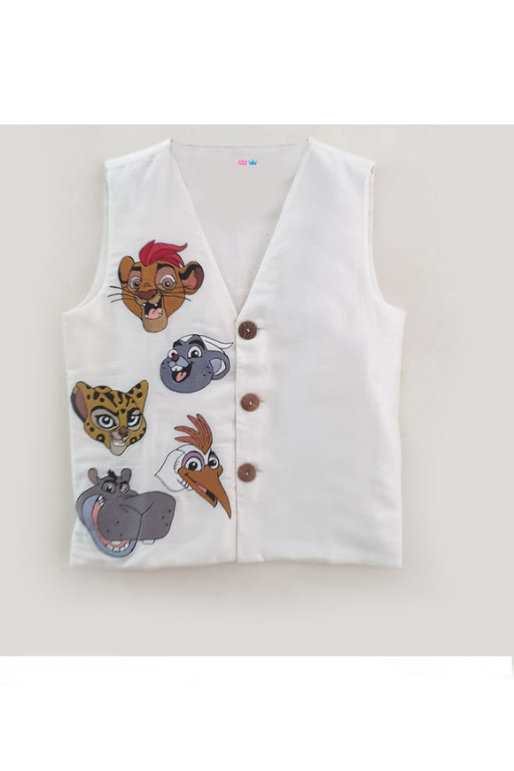Lion guard embroidered waistcoat