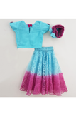 Blue choli with shaded lehenga and dupatta! Get the Best Designer Lehenga Sets for Baby Girls, Designer Choli Ghagra Sets for Baby Girls, Designer Lehenga Choli Sets for Girls, Designer Lehenga Choli for kids, Lehenga for Girls, Ghagra for Girls, Ethnic wear for Girls, Indian Wear for Girls, Designer Ghagra for Kids
