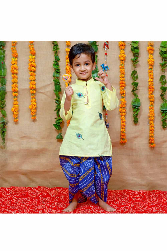 Yellow and blue mor pankh kurta dhoti and flute set