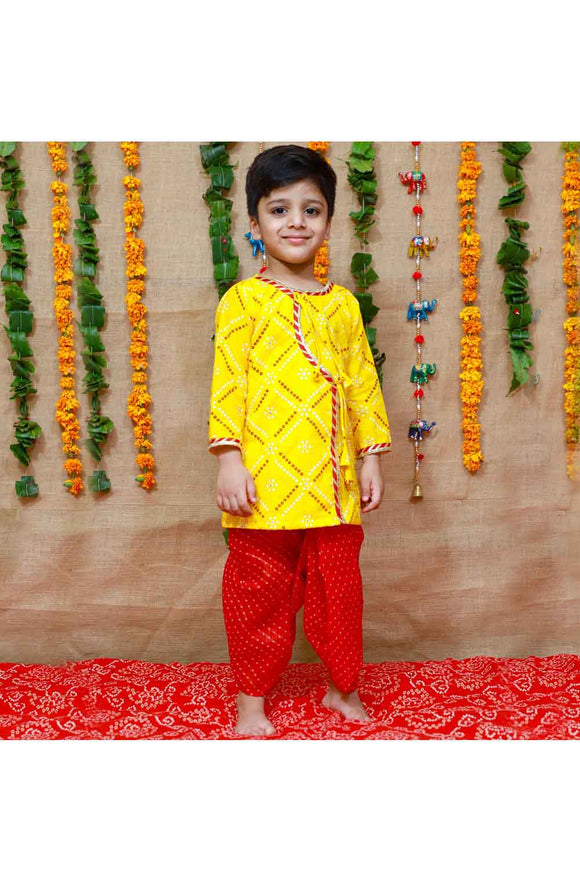 Yellow and red kurta dhoti and flute set
