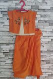 Orange zardozi tia jacket top with dhoti pant