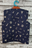 Dark blue funky print with leatherette trims nehru jacket