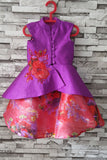 Purple and coral high low peplum with skirt