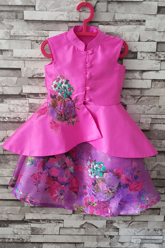 Hot pink and purple high low peplum with skirt