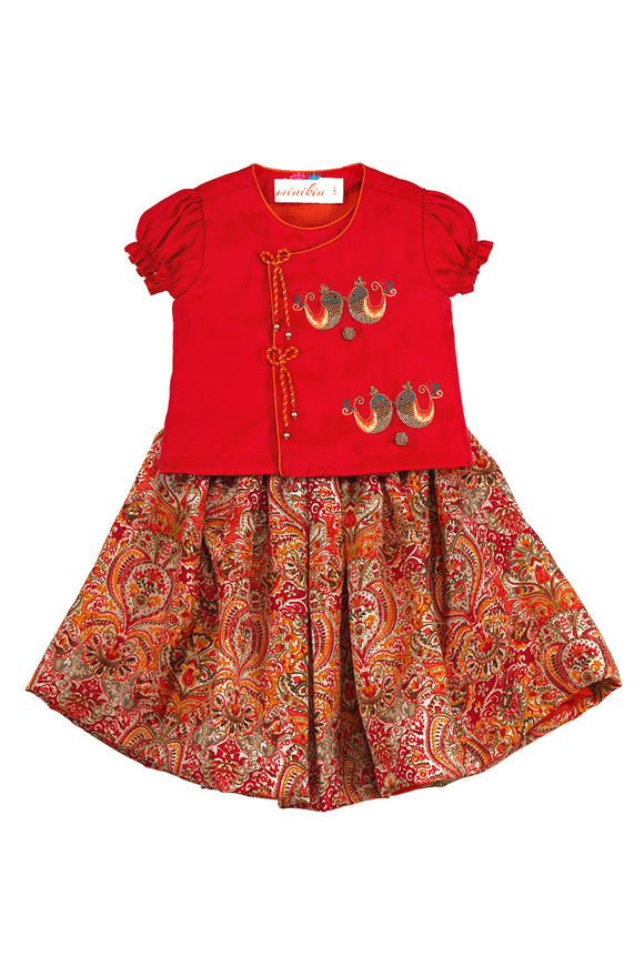 Red Twin Birds Top With Printed Skirt