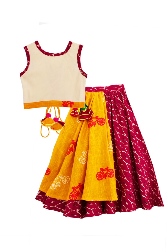 Two mix fabric lehenga with plain cotton blouse