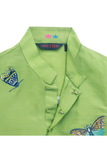 Green butterfly embroidered kurta and white churidar