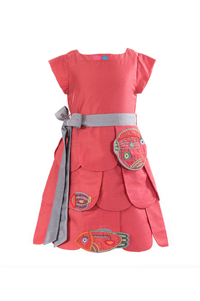 Save Our Seas Tiered Dress-Salmon