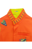 Orange butterfly embroidered jacket with kurta and churidar