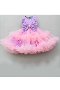 Purple hand embellished bow with pink flared net dress