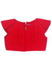 Red blouse with ikkat skirt
