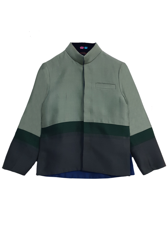 Green and blue block nehru jacket