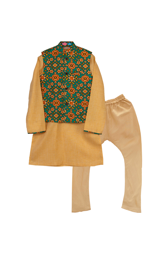 Printed Jacket With Yellow Kurta And Churidar