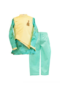 Boys Organza Kurta With Green Pants And Off White Cape Jacket