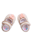 White Pearl,Peach Flower With Chain Border Shoes
