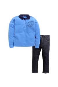 Blue T-shirt with denim pants set