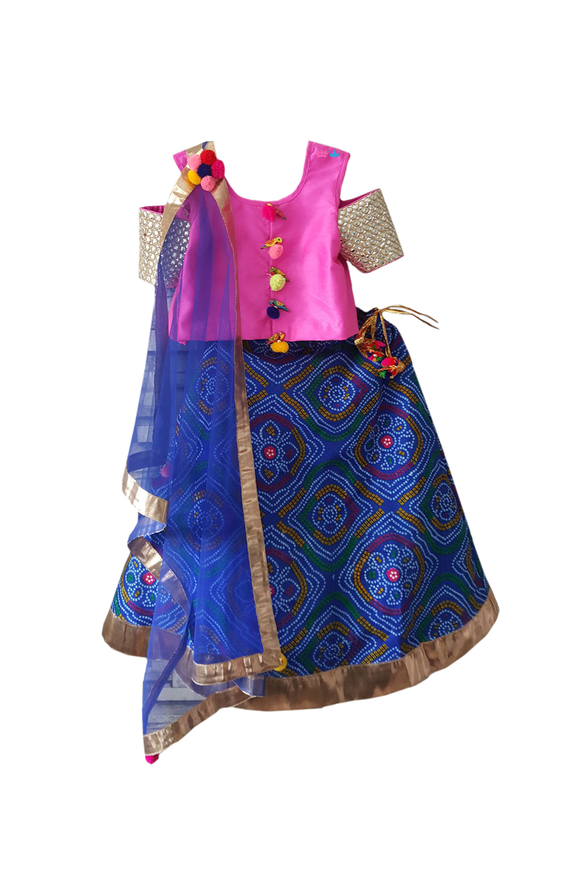 Hot Pink and Blue Bandhani Print Off-Shoulder Lehenga Choli